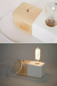 Wood Modern Handmade Table Block Lamp - Desk Lamps, Wood Lamps - Perfect gift ! Handcrafted wood block half painted style withmetallic switch on/off . Industrial slyle for every house!! The lamp has white fabric cable to …    Read More »  #Bedroomdecor #Edison #Handmadelighting #Industrial #Lamp #Lighting #Lightingdesign #Metallic #Modernlighting #Tablelamp #Woodlamp #Woodwork #Woodworking