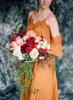 Lush Oversized Fall Wedding Bouquet | Amanda Watson Photography on @AislePerfect via @aislesociety