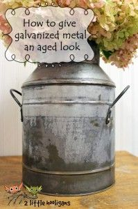 How to Give Galvanized Metal an Aged Look Tutorial from 2littlehooligans.com