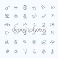Conjunto de iconos de piratas — Ilustración de stock #116055412