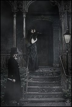 """The Dark Sisters Coachman - """"He was tall wearing a sweeping black coat and a tall hat. His eyes were peculiarly bulging, his skin as rough looking as scar tissue."""" - The Clockwork Angel"""