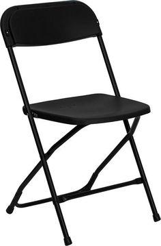 HERCULES Series 800 lb. Capacity Premium Black Plastic Folding Chair LE-L-3-BK-GG by Flash Furniture