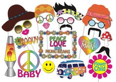 Here is the ultimate collection of Hippie photo booth props! Tons of Fun!! Great for a 60s - 70s Party for a table centrepiece or Photo booth!    Contains 24 pieces:    ♥ Hippie Hat  ♥ 3 x Bandana Hair  ♥ Peace, Love and Mung beans Sign  ♥ 4 x Hippie glassess  ♥ Lava Lamp  ♥ Peace Baby sign  ♥ Peace Man sign  ♥ Groovy sign  ♥ Handle bar mustache  ♥ 2 x Hippie mustaches  ♥ 2 x Lips  ♥ Hippie flower photo frame  ♥ Combie Van  ♥ Magic Mushroom      This listing inlcudes one (15) page PDF file…