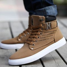Hot Men Shoes Sapatos Tenis Masculino Male Fashion Spring Autumn Leather Shoe For Men Casual High Top Shoes Canvas Sneakers - mens shoes casual, mens mens shoes, cool mens dress shoes Moda Sneakers, Sneakers Mode, Classic Sneakers, High Top Sneakers, Mens Fashion Shoes, Sneakers Fashion, Male Fashion, Fashion Boots, Womens Fashion
