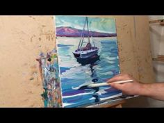 Oil Painting Session Demo Tutorial Impressionist Seascape with Boat by A...