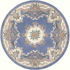 "Round french blue victorian shabby chic DOLLHOUSE miniature RUG 5"". $6.99, via Etsy."