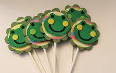 Frog Froggie cupcake toppers  Set of 12  by kriskropmemories, $8.75