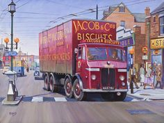 """1947 Leyland Octopus """"de Jacob's Biscuits"""" Painting by Mike Jeffries Car Drawing Easy, Cool Easy Drawings, Vintage Trucks, Old Trucks, Classic Trucks, Classic Cars, Transport Pictures, Old Lorries, Nostalgic Art"""