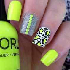 Neon leopard print mani from jewsie_nails. Used Glow Stick by Orly, Cha-Ching by pipdreampolish, Snow Me White by Sinful Colors , black acrylic paint, some neon studs source