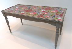Victorian meets the Orient Shabby Chic Upcycled Coffee Table with Colourful Fabric and Grey Paint. via Etsy. Decoupage Furniture, Upcycled Furniture, Painted Furniture, Decoupage Ideas, Shabby Chic Style, Shabby Chic Decor, Colorful Furniture, Cool Furniture, Shabby Chic Chandelier