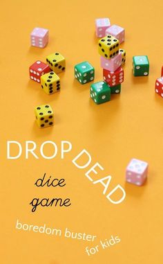 Drop Dead is a fun dice game for kids that uses math skills. Drop Dead is a fun dice game for kids that uses math skills. Activity Games, Fun Activities, Articulation Activities, Therapy Activities, Geek House, Boredom Busters For Kids, Sleepover Party, Family Game Night, Night Kids