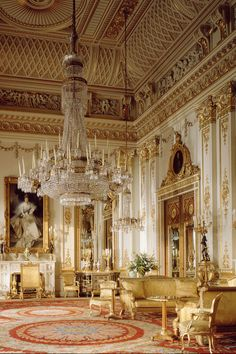 Interior of Buckingham Palace in City of Westminster, England