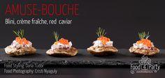 Blini creme fraiche red caviar Mini Appetizers, Creme Fraiche, Appetisers, Caviar, Food Styling, Food Photography, Muffin, Breakfast, Party