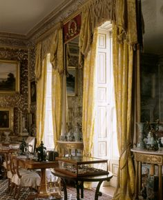"""""""View of the Drawing Room at Calke Abbey, showing the windows, curtains and pier glass. This room was refitted by Sir Henry in 1793-4 and substantially altered in 1855-61."""""""