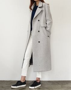Long, Light Grey Coat | White Pants | Black Sneakers With White Soles | Death by Elocution