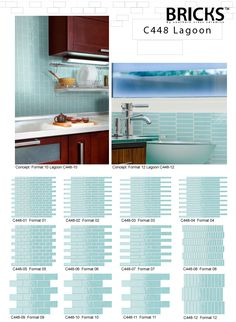 Bricks glass tile - Lagoon colour in 12 formats