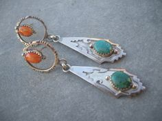 Exquisite Vintage NAVAJO Sterling Silver TURQUOISE and Orange Spiny Oyster Shell EARRINGS