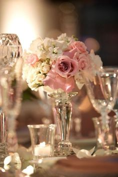 table decor, love this but with more lavendar added in and less pink...maybe some peach.