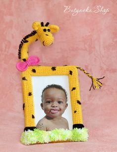 Купить Рамка для фото Жираф (фоторамка) - жёлтый, фоторамка, фоторамка ручной работы, фоторамка детская