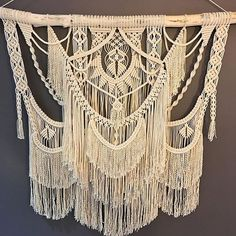 Still needs some final tweaks, but almost done! #handmadeisbetter #macrame #macramewallhanging #macramelove