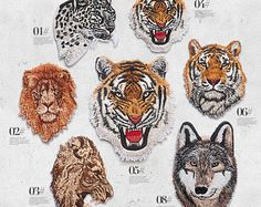 Tiger Head Patch,Embroidered Tiger Head Patch,Lion Embroidery Applique,Lion Embroidery Patch,Wolf Embroidery Patch,Wolf Applique,Leopard