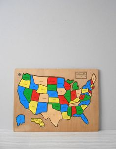 vintage usa wooden puzzle @Etsy