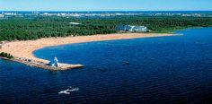 The Nallikari Beach next to the Gulf of Bothnia Sea, Oulu, North Ostrobothnia province, Finland.
