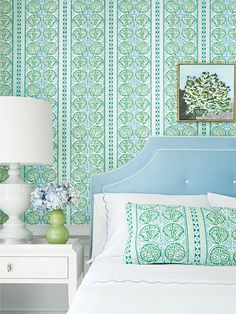 House of Turquoise: Trade Routes Collection from Thibaut Do It Yourself Design, House Of Turquoise, Fabric Houses, Suites, Guest Bedrooms, Blue Bedrooms, Guest Room, Fine Furniture, My New Room