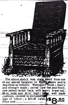 From The Philadelphia Press; Wednesday, December 16, 1903, Page 8.  I love Victorian-era and early-Edwardian furniture.  (Because, furniture and eras were named after British monarchs because, after all, they were THE ONLY royal family in the world then - and now apparently).