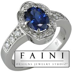 Beautiful Blue Sapphire Ladies Ring designed and created at Faini Designs Jewelry Studio.
