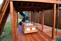 Outdoor redwood daybed swing can be hung under your redwood playset, in a tree, on your back porch or with the daybed stand. Outdoor Swing Sets, Outdoor Play, Backyard Playset, Playhouses, Kid Beds, Daybed, Backyard Ideas, Diy Gifts, Porch