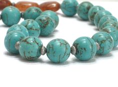 Turquoise Necklace Chunky Necklace Brown Quartz Robin's by CCARIA, $23.00