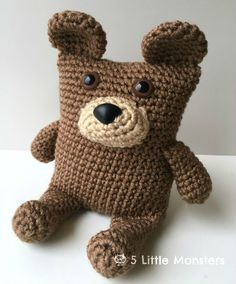 Link to the Boxy Bear crochet pattern. This amigurumi animal is part of a series including a fox and an owl. All three are available as free patterns.