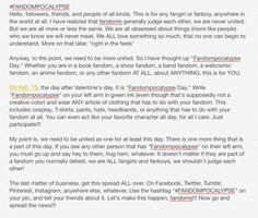 Spread this, my friends. Let's go! Put on all your fandom boards! #FANDOMPOCALYPSE yay!