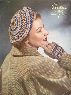 vintage fair isle beret knitting pattern for ladies