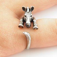 Silver Zebra - Animal Wrap Ring    | KejaJewelry - Jewelry on ArtFire