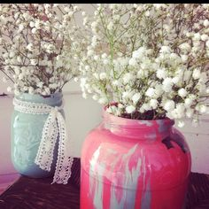 Painted mason jar DIY by OGD any jar will do. This is a pickle jar .