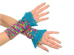 #Rainbow #Fingerless #Gloves - #Neon #Multicolor #Knitted #Arm #Warmers With #Turquoise #Crochet #Lace #Decoration