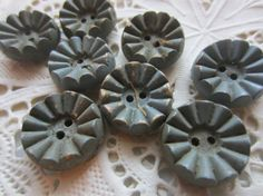 Vintage Buttons  Cottage chic lot of 8 blue grey by pillowtalkswf, $12.95