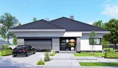 Projekt domu parterowego APS 401 o pow. 133,4 m2 z obszernym garażem, z dachem namiotowym, z tarasem, sprawdź! My House Plans, House Layout Plans, Family House Plans, Luxury House Plans, Modern House Plans, Modern Family House, Modern Bungalow House, Small House Design, Modern House Design