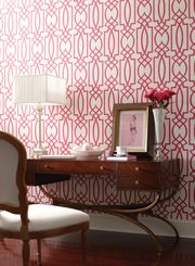 Design by Candice Olsen. This wallpaper is epic fabulous and that art deco table I want!