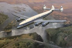 Aviation Art by Darryl Legg - A SAA/SAL Lockheed Constellation descends over Victoria Falls, soon to touch down at Livingstone Airport, Zambia - 1953