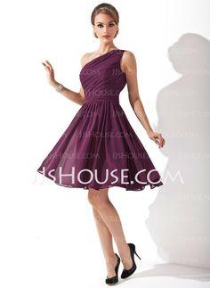 Bridesmaid Dresses - $90.49 - A-Line/Princess One-Shoulder Knee-Length Chiffon Bridesmaid Dress With Ruffle Sash (007000918) http://jjshouse.com/A-Line-Princess-One-Shoulder-Knee-Length-Chiffon-Bridesmaid-Dress-With-Ruffle-Sash-007000918-g918
