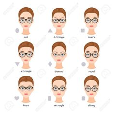Set Of Various Types Of Spectacle Eyeglasses. Faces Shapes To.. Royalty Free Cliparts, Vectors, And Stock Illustration. Image 64303024.