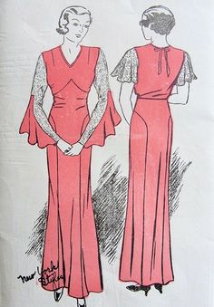 1930s Bias Cut Evening Gown Pattern Two Beautiful Sleeve Versions Myrna Loy Style