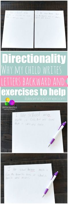 Directionality: Why Directionality and Writing Letters Backward is Part of a Greater Problem - Integrated Learning Strategies Pre Writing, Writing Letters, Kids Writing, Teaching Writing, Writing Skills, Hand Writing, Preschool Writing, Preschool Curriculum, Kindergarten Literacy