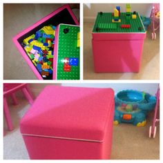LEGO storage DIY.   Our baby girl got tons of Lego Duplos and a building Mat for Christmas!...she loved it Them! So, hubby decided he would make a table for her to build on, and store all of her Legos that were in three different containers. My hubby went out and found this awesome little ottoman at target (on sale for $20). Which he transformed into an adorable little storage bin for her Legos, and when the top is flipped over it is a table to build with! Just trimmed the board down, and…