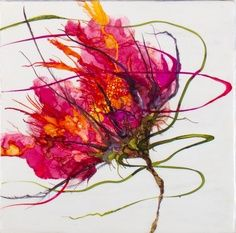 Painting with Alcohol Inks on Yupo Paper, with Wendy Videlock. Alcohol Ink Painting, Alcohol Ink Art, Art Watercolor, Watercolor Flowers, Encaustic Art, Arte Floral, Abstract Flowers, Art Techniques, Love Art