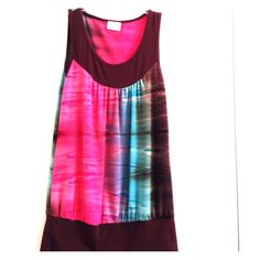 Tie-Dye Pattern Top Beautiful tie-dye pattern top with pink, blue and brown. Stretch material. Could fit size medium as well. Pretty Good Tops Blouses