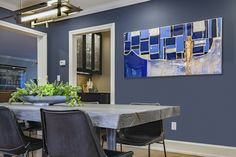 Dining Room, Navy blue walls, blue artwork, dining table, hardwood table, Carrie McCall Design Dining Room Design, Dining Rooms, Dining Table, Navy Blue Walls, Hardwood Table, Blue Artwork, Carrie, House Design, Kitchen